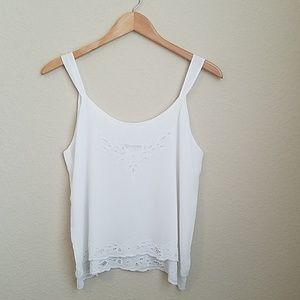 Soft Surroundings   White lace tank